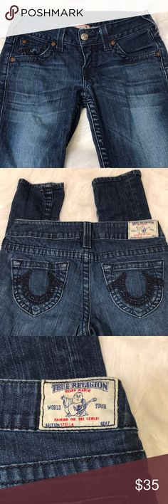 44d68df632a1f True Religion/ Stella low rise / skinny blue jeans with embroidery on back  pockets and one front pocket!