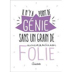 Carte postale message Il n'y a point de génie sans un grain de Folie - Citation Aristote  - Papeterie L'Atelier Chez Soi