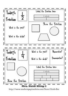 3rd Grade Common Core - Fractions  Preview of Equal Parts whole set (2 weeks) available in store.  Also seen in...Fraction Bundle - Daily Math & More! - 3rd  Great review for 3rd and 4th grades! Use for progress monitoring, remediation, weekly check-ups, a quiz grade, morning work or homework.