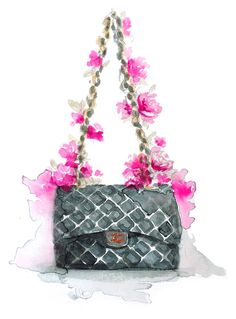 Beautiful chanel purse painting with flowers