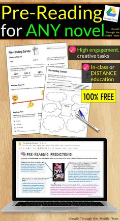 FREE digital and print pre-reading activities for ANY novel or short story! Perfect for in-class or distance learning, these activities have been optimised for Google Slides, PowerPoint and A4 printing and are 100% FREE! Happy teaching :) Secondary Activities, Pre Reading Activities, Reading Worksheets, Middle School Reading, Middle School Teachers, High School, School Resources, Teaching Resources, Teaching Ideas