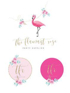 Acuarela Flamingo Logo logotipo Floral perfecto para