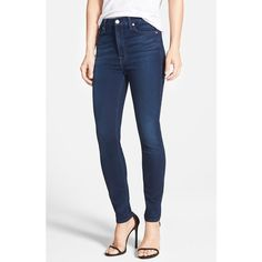 7 For All Mankind High Waist Ankle Skinny Jeans ($198) ❤ liked on Polyvore