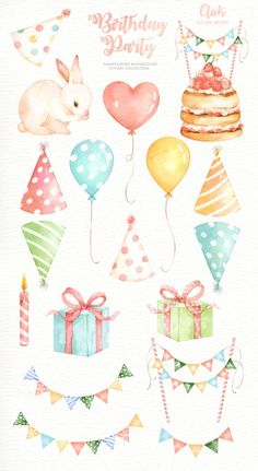 The set of high quality hand painted watercolor Birthday party elements. A Bunny, cake, cupcake, balloons and other birthday elements are included in this set. Perfect for birthday invitations, weddin Watercolor Cake, Watercolor Paintings, Watercolor Trees, Watercolor Techniques, Watercolor Background, Watercolor Landscape, Watercolor Illustration, Kids Watercolor, Birthday Clipart