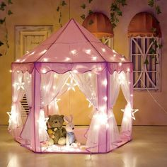 Princess Castle Play House Pink Large Indoor/Outdoor Kids Play Tent for Girls Childrens Wooden Playhouse, Childrens Play Tents, Kids Tents, Teepee Kids, Kids Garden Playhouse, Girls Playhouse, Playhouse Outdoor, Castle Playhouse, Tent Room