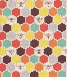 2014 Echino Fabric    - bees   -  Orange Yellow  by  Estuko Furuya -  50cm