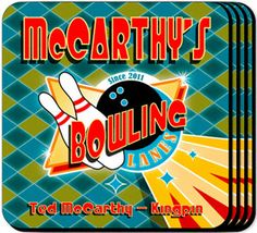 WeddingDepot.com ~ Personalized Coaster Set - Bowling ~ Our Bowling personalized coasters are a perfect accessory to any bar or family room.
