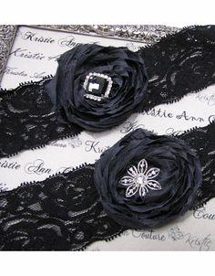 Sophisticated Black Lace and Black Rose Garter Set