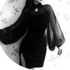 Black Gothic Side Slits Cheongsam Dress SP178999