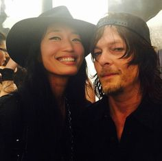Norman Reedus and Jihae at his art exhibit on 5/16/2015.