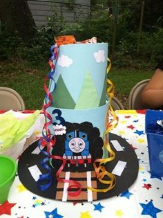 Thomas the train table centerpiece made by me!