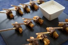 Tapenade Canapes - steak and chips with a warm horseradish cream