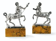 Silver Centaurs on Marble Bases, Rome ca. 1900.