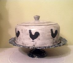 Rooster Black Stenciled Cake Cover on by CraftsByJoyice on Etsy