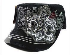 Black, Gray and Brown Fleur De Lis Destructed Rhinestone Cadet Cap Hat