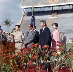 President Kennedy addresses the 2506 Cuban Invasion Brigade, the group captured during the Bay of Pigs.