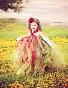 Vintage Green and Crimson Flower Girls Tutu Dress