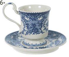 Set di 6 tazzine da caffe' in ceramica con piattino - 9x8x6 cm