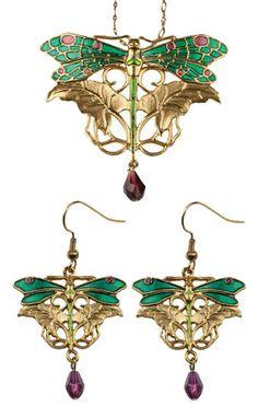 DRAGONFLY PENDANT/EARRINGS SET. ART NOUVEAU JEWELRY. Dragonfly Wall Art, Dragonfly Jewelry, Insect Jewelry, Dragonfly Pendant, Enamel Jewelry, Antique Jewelry, Vintage Jewelry, Bijoux Art Nouveau, Art Nouveau Jewelry
