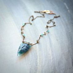 The Archer Sagittarius Blue Chalcedony Arrowhead by Mayahelena