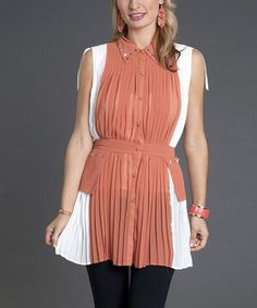 This Firmiana Rust & White Studded Tie-Waist Tunic by Firmiana is perfect! #zulilyfinds