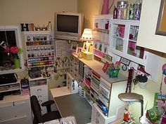 OMG! Can not believe how many of these containers I own. Love all the storage solutions for this scrap room.