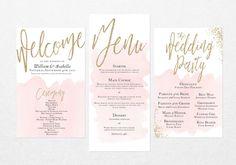 Druckbare Hochzeit Suite Programm und Menü von BirchandSparrow