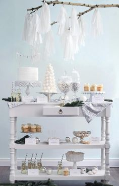 Winter Wonderland Dessert Table perfect idea for weddings and anniversary parties but decorate it in a theme.