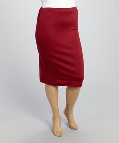 Another great find on #zulily! Burgundy Pencil Skirt - Plus by MOA Collection #zulilyfinds
