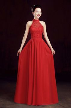 Custom Made Spring Halter Lace Long Red Prom Dresses 2015 Chiffon ...