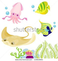 stock vector : Set of the  cartoon fishes  Sting Ray Fish