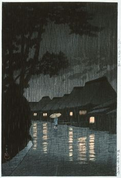 Kawase Hasui: Night Rain, Maekawa, Sōshū Province by | LACMA Collections