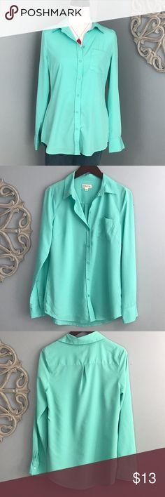 Merona | Seafoam Green Blouse Seafood green button down blouse by Merona.  100% polyester.  EUC. No rips, stains, tears or snags. Merona Tops Button Down Shirts