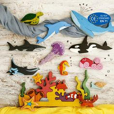 Big Sea Set Ocean animals Play space Marine toys Coral reef puzzle toys for toddlers Sea creatures Space Marine, Wooden Animals, Wooden Toys, Wooden Playset, Discovery Toys, Big Sea, Sea Snail, Small World Play, Delphine