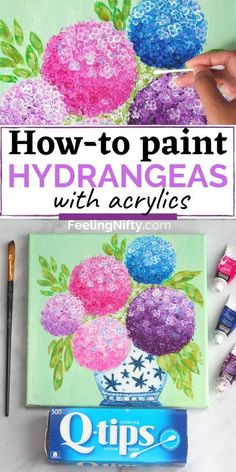 Learn how to paint easy & beautiful Hydrangeas with Q-tips in acrylic paint.In this Acrylic step-by-step tutorial you will learn how to recreate simple hydrangea flowers, leaves and antique vase on canvases. Paint pink, purple and blue hydrangeas. This is a beginner acrylic painting tutorial and easy flower painting. #easypaintingideas #acrylicpainting #wallart #diyart #paintingideas #hydrangeas #flowers #summervibes #fun #painting #art Easy Flower Painting, Hydrangea Painting, Acrylic Painting Flowers, Simple Acrylic Paintings, Flower Art, Easy Flowers To Paint, Easy Things To Paint, How To Paint, Painting Flowers Tutorial