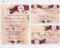 Marsala Wedding Invitation Printable Burgundy by PreppyDigitalArt