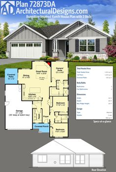 Architectural Designs Bungalow-Inspired Ranch House Plan 72873DA gives you 3 beds and just over 1,800 square feet of heated living space all on one floor. Ready when you are. Where do YOU want to build?