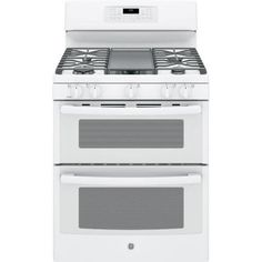 GE 6.8 cu. ft. Double Oven Gas Range with Self-Cleaning Convection Oven (Lower Oven) in White-JGB860DEJWW - The Home Depot