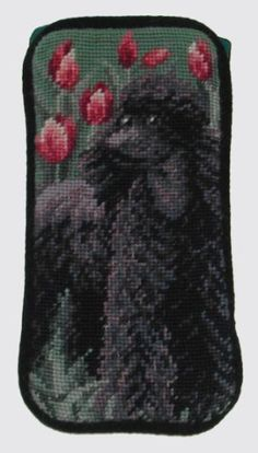 "BLACK POODLE NEEDLEPOINT EYEGLASS CASE . $15.75. This beautiful needlepoint eyeglass case is perfect for holding your eyeglasses. The case is exquisitely detailed and features a colorful depiction of your favorite breed. This makes a unique dog lover gift! Measures approx 3.5"" x 7"