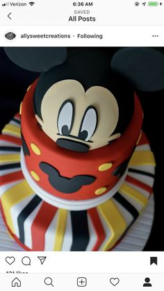 Baby Mickey Cake, Mickey Mouse Bday, Mickey Cakes, Mickey Mouse Clubhouse Birthday, Minnie Mouse Cake, Mickey Party, Mickey Mouse Birthday, Disneyland Birthday, Celebration Cakes