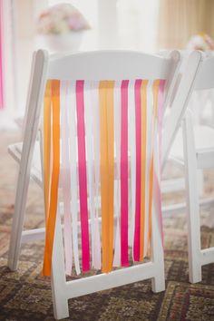 Festive chair streamers   Photography: http://bethandty.com   Design: http://www.kjandco.ca
