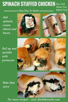 Step by step guide on how to make Spinach Stuffed Chicken. Follow the easy photo guide and have a real whole food dinner ready in no time at all. Gluten free, grain free, whole food and healthy. | ditchthecarbs.com via @ditchthecarbs