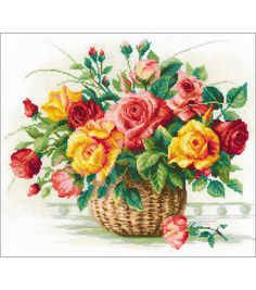 Basket with Roses Counted Cross Stitch Kit - x 14 count Embroidery Patterns Free, Diy Embroidery, Cross Stitch Embroidery, Cross Stitch Designs, Cross Stitch Patterns, Vintage Cross Stitches, Brazilian Embroidery, Sewing Art, Counted Cross Stitch Kits