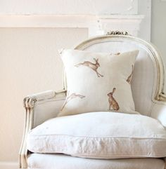 Fudge Hares by Peony and Sage...like the chair, too!