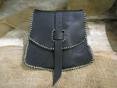 Black Leather VikingStyle Flat pouch