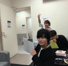 Okamoto Nobuhiko with others Japanese Boyfriend, Voice Actor, The Voice, Kawaii, Actors, Memes, Meme, Actor
