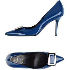 Roger Vivier Pump ($510) ❤ liked on Polyvore featuring shoes, pumps, slate blue, blue leather shoes, animal pump, stiletto heel pumps, high heel stilettos and stiletto pumps