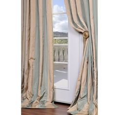 @Overstock - Nothing brightens up a room like a new curtain panel.  This luxurious window panel is defined by an elegant stripe pattern in beige and Bristol blue. The curtain features an attached hook belt.http://www.overstock.com/Home-Garden/Signature-Stripe-Beige-Sea-Foam-Green-Faux-Silk-Taffeta-120-inch-Curtain-Panel/5173960/product.html?CID=214117 $59.80