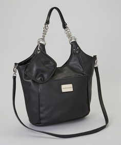 Take a look at this Black Chain Mineta Tote by Franco Sarto on today! Nice Handbags, Best Handbags, Franco Sarto, Totes, Pouch, Take That, Chain, Leather, Black