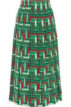 Gucci - Pleated Printed Silk Crepe De Chine Skirt - Emerald - IT